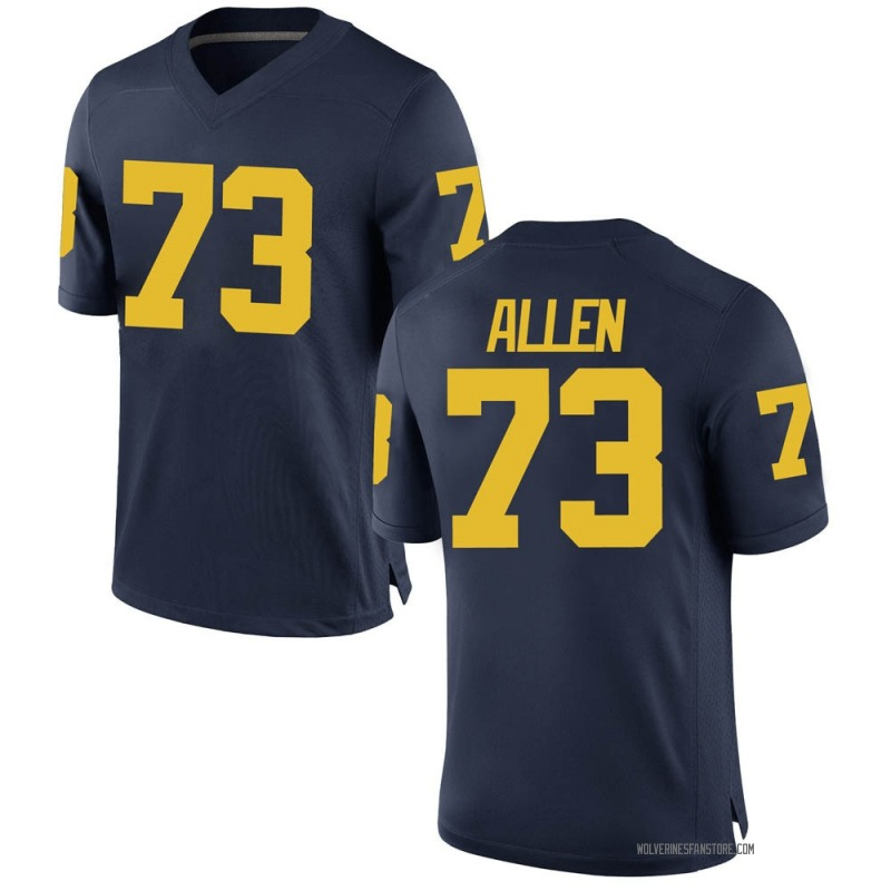 Game Men's Willie Allen Michigan Wolverines Navy Brand Jordan Football College Jersey