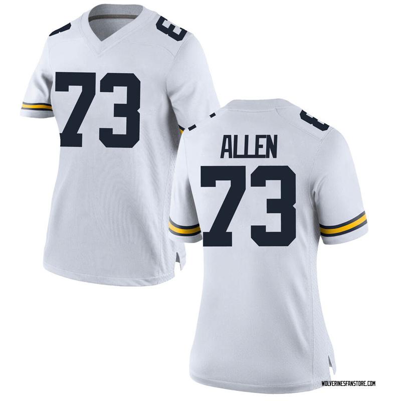 Game Women's Willie Allen Michigan Wolverines White Brand Jordan Football College Jersey